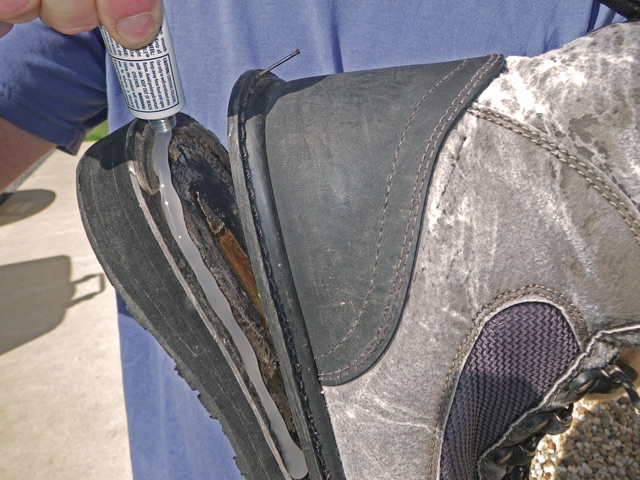 Repairing Wading Boots with Goop or Barge Cement